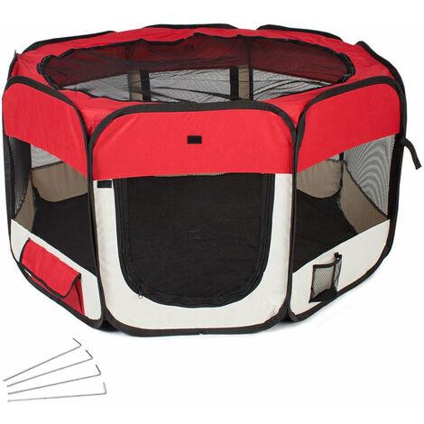 Parc à chiots chiens enclos pour animaux pliable rouge 125 x 125 x 64 cm