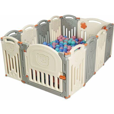 Parc Bébé en Plastique 12 Éléments avec Panneaux d\'Activité et Porte  Barrière Sécurité Enfant Pliable en Joli Motif