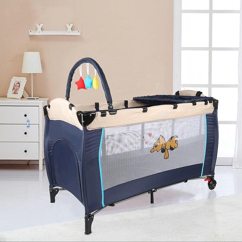 Skecten - Parc de Jeu pour Bébé, Lit Parapluie Pliable, Taille déployée: 125 x 79 x 65 cm, Bleu