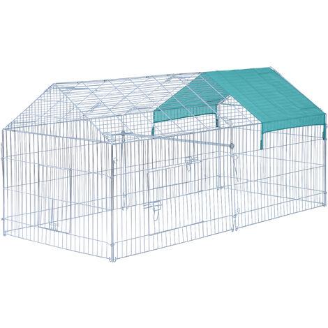 Parc enclos acier cage extérieure dim. 2,20L x 1,03l x 1,03H cm 3 portes et trappe surface abrité PE vert - Gris