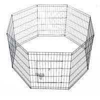 Parc enclos acier pour chien animaux 1 porte 8 panneaux 76L x 61l cm noir