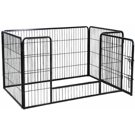 Parc enclos cage pour chiens chiots animaux de compagnie 120 x 80 cm noir