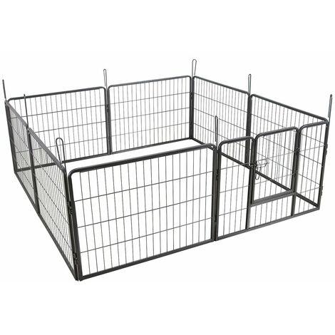 Parc enclos cage pour chiens chiots animaux de compagnie 163 x 163 cm gris