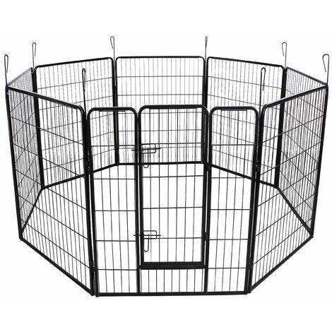 Parc enclos cage pour chiens chiots animaux de compagnie 163 x 163 noir