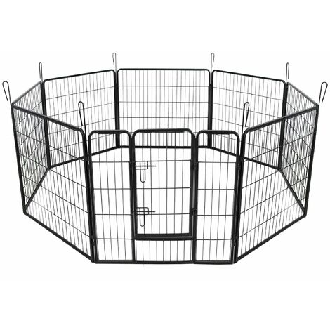 Parc enclos cage pour chiens chiots animaux de compagnie 163 x 163cm noir - Noir