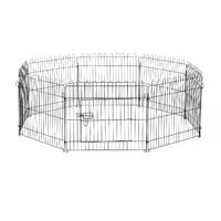 Parc enclos pour chiens chiots animaux domestiques diamètre 158 cm 8 panneaux 71L x 61H cm noir