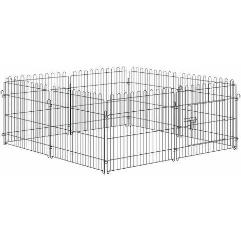 Parc enclos pour chiens chiots animaux domestiques diamètre 158 cm 8 panneaux 71L x 61H cm noir - Noir
