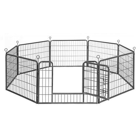 Parc Enclos pour Chiens Métal pour Chiots Animaux Grillage Rongeur Petit Avec Porte 8 Panneaux