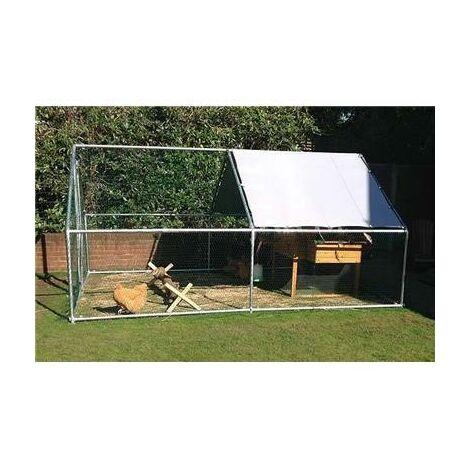 Parc grillagé poulailler enclos pour poules 12m2 tubes 38mm