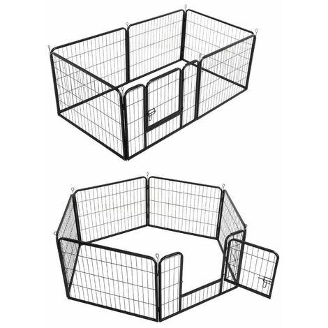 Parc modulable à chiots, enclos à chiens acier 160 x 80 x Ht. 80 cm avec porte d'accès - Animood