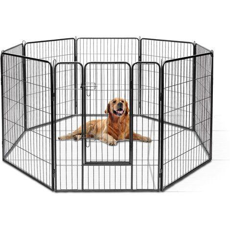Parc pour animaux en métal pliable à 8 panneaux, enclos d'exercice pour chiots avec porte verrouillable