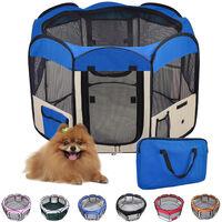 Parc pour Chien Chat Pliable,125*125*61cm,49cm*61cm*8pcs Bleu + 1 Housse de Transport-Bleu