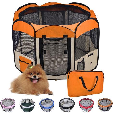 Parc pour Chien Chat Pliable,125*125*61cm,49cm*61cm*8pcs Bleu + 1 Housse de Transport-Orange