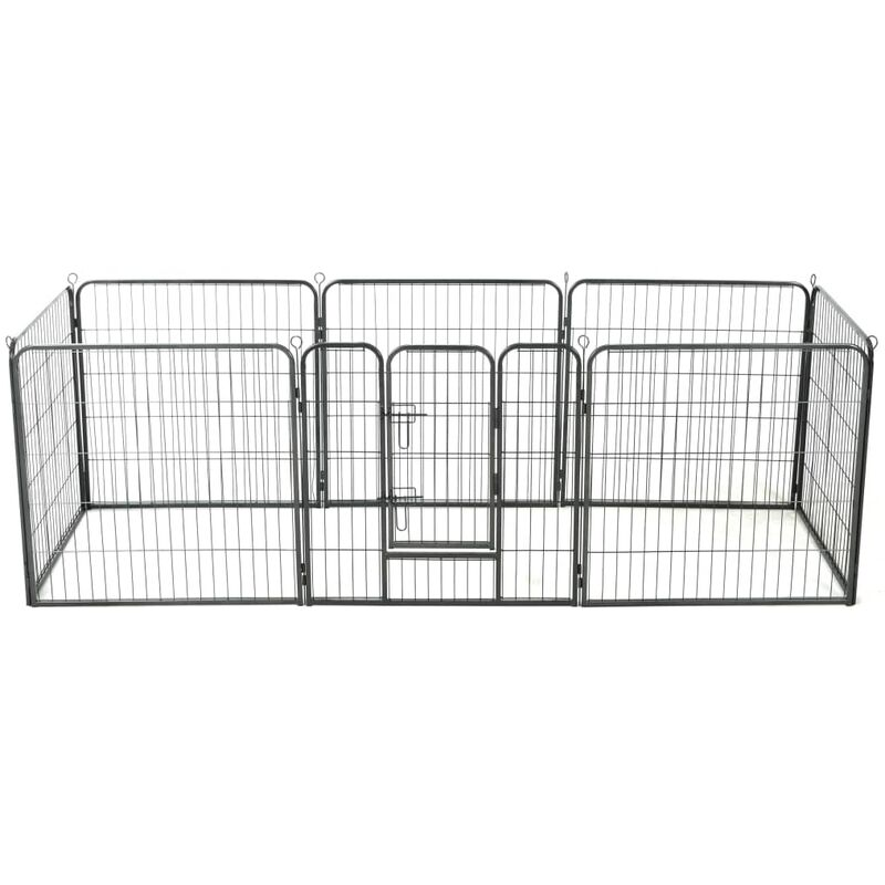 Parc pour chiens 8 panneaux Acier 80 x 80 cm Noir1751-A