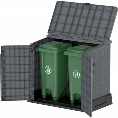 <p>Arc&oacute;n cubre cubos de pl&aacute;stico en color gris, capacidad hasta 850 L. con medidas max. de 130 x 74 x 110 cm.</p>