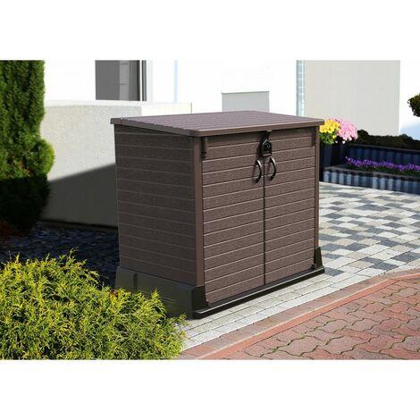 <p>Arc&oacute;n cubre cubos de pl&aacute;stico en color marr&oacute;n, capacidad hasta 850 L. con medidas max. de 130 x 74 x 110 cm.</p>