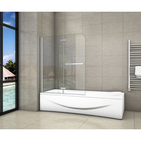 Pare-baignoire 100/120x140cm  pivotant 180degré en 6mm verre anticalcaire avec une poignée en Inox