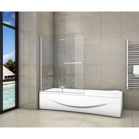 Pare-baignoire 100/120x140cm pivotant 180°en 6mm verre anticalcaire avec une poignée en Inox