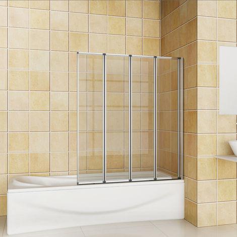 Pare baignoire 100x140cm en verre anticalcaire pivotante à 180°,4 volets