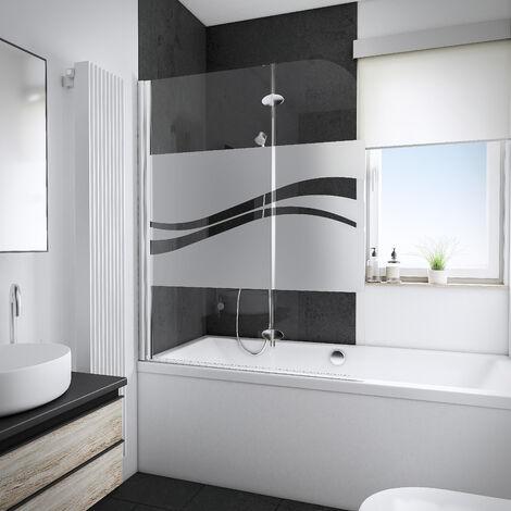 Pare-baignoire 112 x 140 cm, verre 5 mm, paroi de baignoire 2 volets, écran de baignoire pivotant, décor Liane, profilé aspect chromé, Schulte