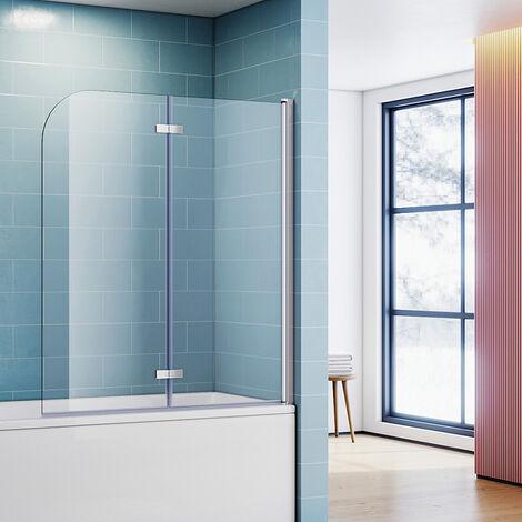 Pare-baignoire 120x140cm paroi de baignoire pivotant 180 degrés en 6mm verre trempé anticalcaire Easy-clean glass