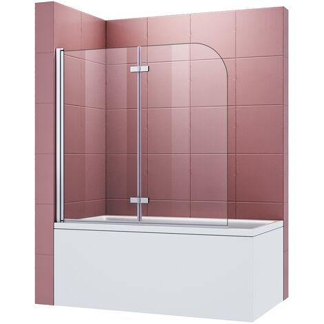 Pare-baignoire 120x140cm pivotant 180 ° en 6mm verre trempé Easy-clean glass anticalcaire porte de baignoire paroi de baignoire