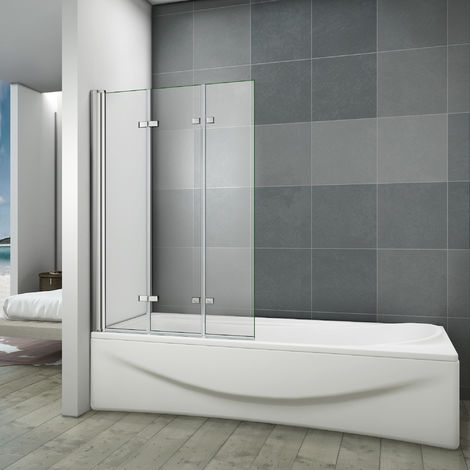 Pare baignoire 130x140cm 3 volets en verre anticalcaire écran de baignoire pivotant