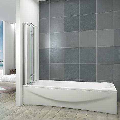 Pare baignoire 130x140cm 3 volets en verre anticalcaire écran de baignoire pivotant à 180 degrés