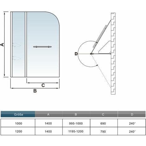 Pare baignoire 140cm paroi de douche pivotante à 240 degré securit avec porte-serviette