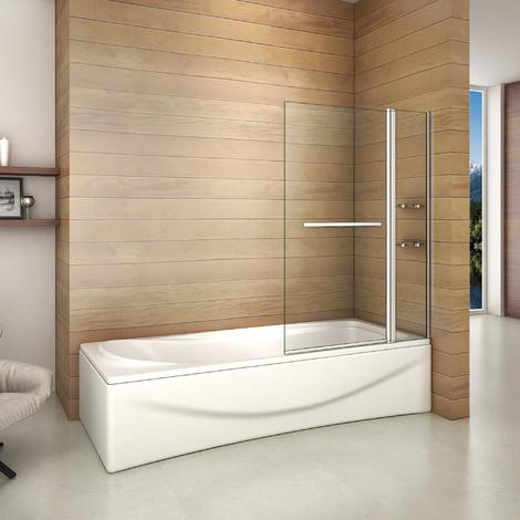 Pare baignoire 100x140cm paroi de douche rectangle pivotante à 240 degré securit avec porte-serviette