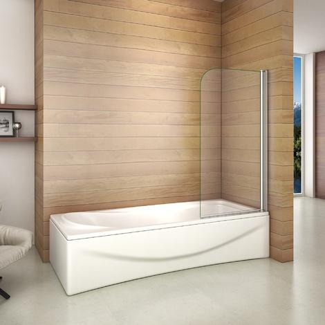 Pare baignoire 70x130cm verre anticalcaire   écran de baignoire pivotant à 180degré