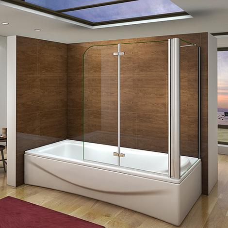 Pare baignoire 90x140cm en verre anticalcaire pivotante à 180°et une paroi de douche en 70x140cm