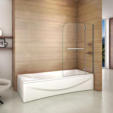 """main image of """"Pare baignoire 140cm paroi de douche pivotante à 90 degré securit avec porte-serviette"""""""