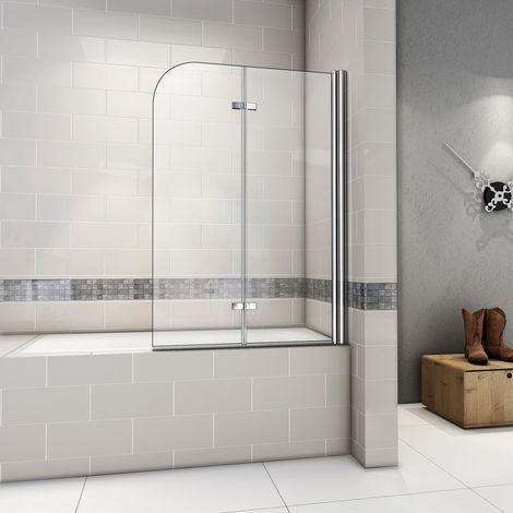 """main image of """"Pare baignoire pivotant 180 degrés AICA sanitaire paroi de baignoire  6mm verre trempé anticalcaire"""""""