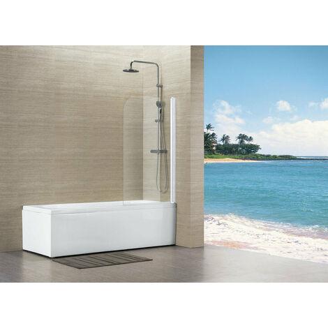 Pare baignoire ALTERNA Vers eau 80 x 140 cm profile blanc epaisseur du verre 4 mm, Ref.MP75