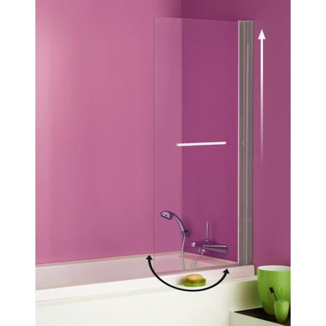 Pare-baignoire ANCOMALIN, 1 volet relevable et pivotant en verre securit transparent 5mm