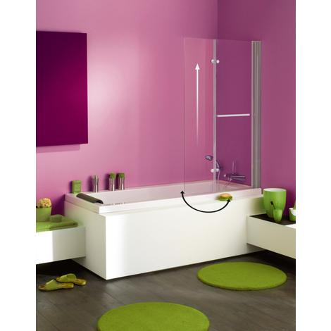 Pare-baignoire ANCOMALIN, avec profil blanc, 2 volets pliables relevable et pivotant en verre securit transparent 5mm