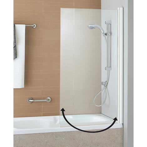 Pare-baignoire ANCOSWING, 1 volet pivotant en verre securit transparent 5mm, profil blanc