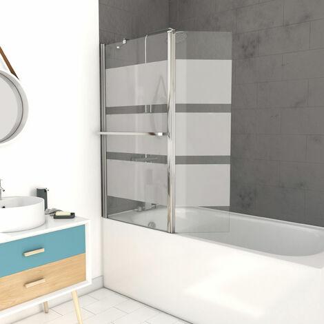 Pare baignoire avec volet pivotant 130x105cm - Profilé aluminium chrome et verre transparent bande dépolie - HERITAGE
