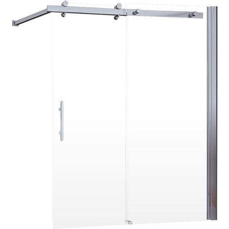 Pare-baignoire coulissant, 70 - 120 x 150 cm, paroi de baignoire extensible, 2 volets, verre transparent, profilé aspect chromé