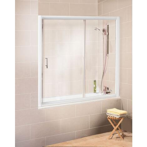 Pare-baignoire coulissant en niche, paroi de baignoire extensible, 2 volets, verre transparent, profilé blanc