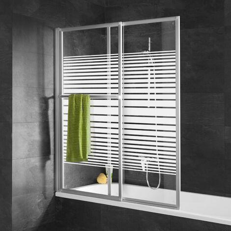 Pare-baignoire coulissant et rabattable, 70 - 118 x 140 cm, Schulte paroi de baignoire extensible 2 volets, verre 3 mm, profilé blanc, décor rayures horizontales