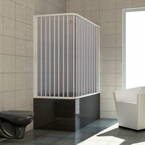 Pare-baignoire 2 côtés mod. Nadia 70x150 cm avec ouverture latérale à soufflet en PVC