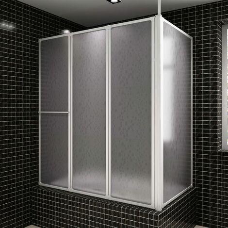Pare baignoire en L à 4 volets rétractables avec porte-serviettes