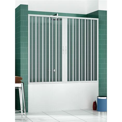 Pare-baignoire en PVC, dim. 170 cm x H 150 cm, d'un côté, deux portes, avec ouverture centrale.