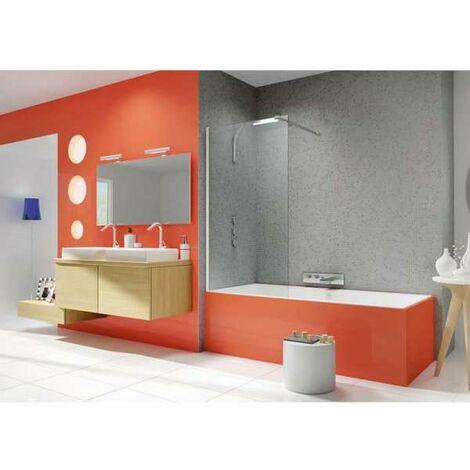 Pare-baignoire fixe verre transparent - 1 ventail - 140 x 80 cm - Ibiza - Kinedo