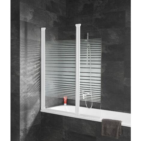 Pare-baignoire pivotant, 114 x 140 cm, paroi de baignoire 2 volets, écran de baignoire décor rayures horizontales, profilé blanc, Komfort, Schulte