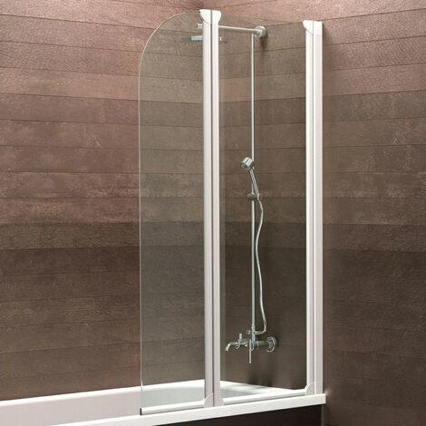 Pare-baignoire pivotant, 114 x 140 cm, paroi de baignoire 2 volets, écran de baignoire, verre 3 mm, Komfort Express-Plus Schulte, profilé blanc