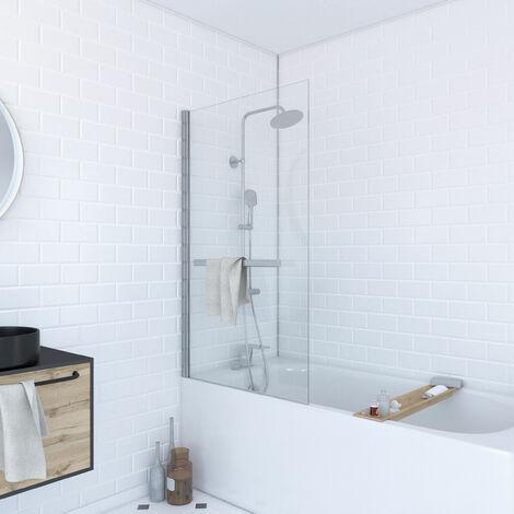 """main image of """"Pare baignoire pivotant avec porte serviette"""""""