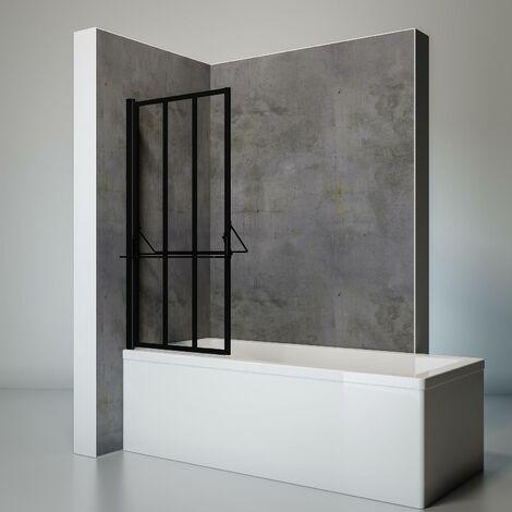Pare-baignoire rabattable pivotant 75 x 140 cm, verre 4 mm anticalcaire, décor verrière atelier industrielle, paroi de baignoire 1 volet, tablette et porte-serviettes, Schulte